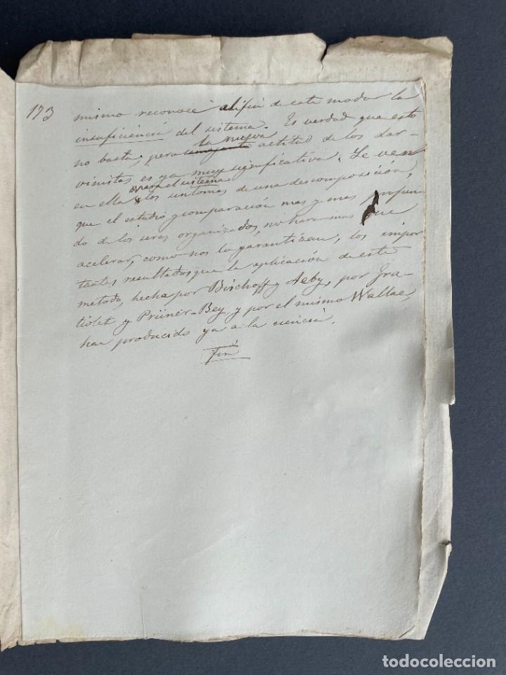 Libros antiguos: XIX - TRADUCCION MANUSCRITA AL ESPAÑOL DE EL ORIGEN DEL HOMBRE DE CHARLES DARWIN - - Foto 35 - 254757085
