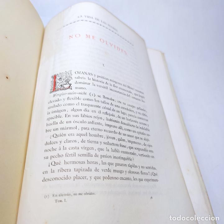 Libros antiguos: Preciosa obra La vida de las flores. Alfonso Karr y Taxile Delord. 2 tomos.Cientos litografías.1878 - Foto 13 - 257603235