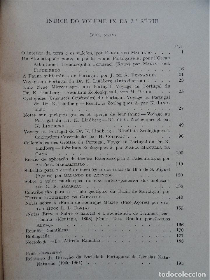 Libros antiguos: BOLETIM SOCIEDADE PORTUGUESA CIÊNCIAS NATURAIS - Lisboa 1961 - 1962. Mapa Geológico Mortágua - Foto 10 - 265804289