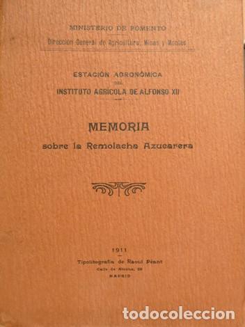 ESTACIÓN AGRONÓMICA DEL INSTITUTO AGRÍCOLA DE ALFONSO XII. MEMORIA SOBRE LA REMOLACHA AZUCARERA.1911 (Libros Antiguos, Raros y Curiosos - Ciencias, Manuales y Oficios - Biología y Botánica)