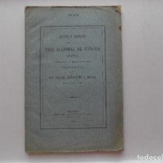 Libros antiguos: LIBRERIA GHOTICA. J. BARRAQUER. DISCURSOS EN LA REAL ACADEMIA DE CIENCIAS FISICAS Y NATURALES. 1881. Lote 269328858