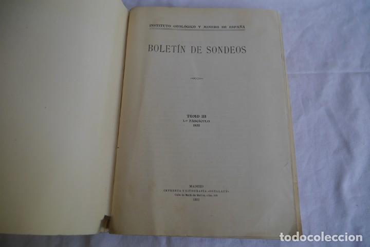 Libros antiguos: Boletín de Sondeos, Instituto Geológico y Minero de España, 1932, Tomo III - Foto 5 - 277623213