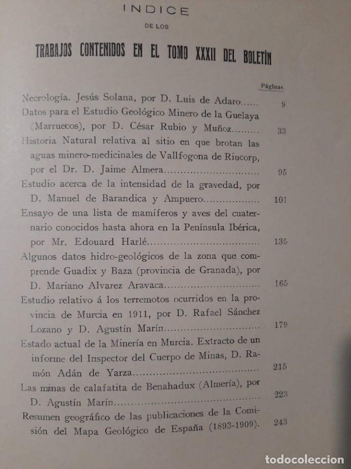 Libros antiguos: Boletín del Instituto Geológico de España Intonso Tomo XI 1912 - Foto 15 - 277622478