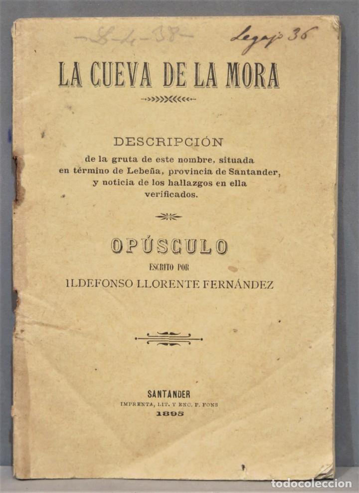 1895.- LA CUEVA DE LA MORA. DESCRIPCION DE LA GRUTA. OPUSCULO ILDEFONSO LLORENTE (Libros Antiguos, Raros y Curiosos - Ciencias, Manuales y Oficios - Paleontología y Geología)