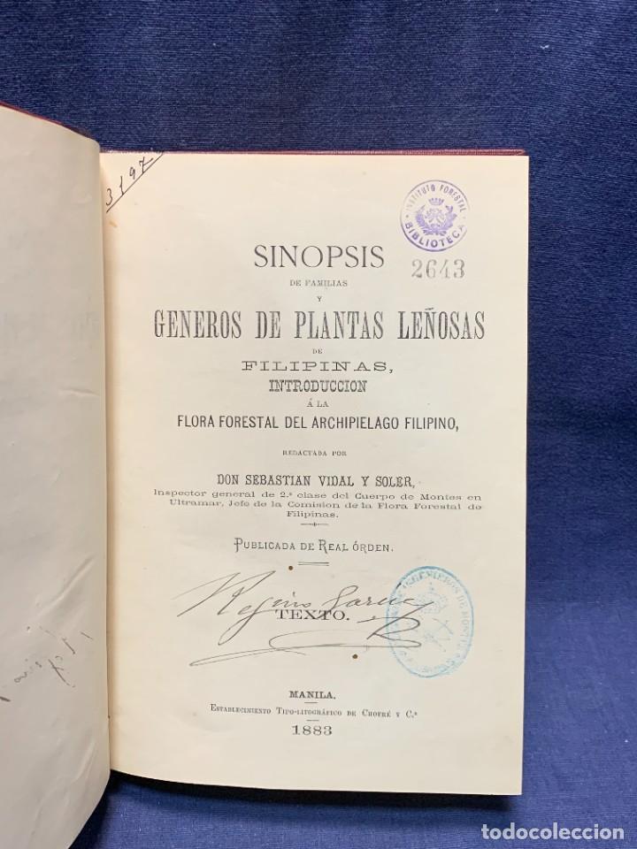 LIBRO GENEROS PLANTAS LEÑOSAS DE FILIPINAS SEBASTIAN VIDAL Y SOLER 1883 FIRMADO 22X16CMS (Libros Antiguos, Raros y Curiosos - Ciencias, Manuales y Oficios - Biología y Botánica)