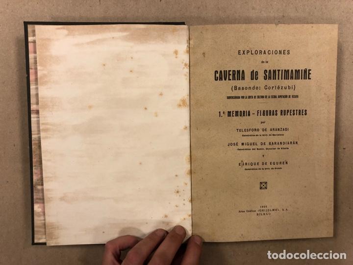 Libros antiguos: EXPLORACIÓN DE LA CAVERNA DE SANTIMAMIÑE. TELESFORO DE ARANZADI, J.M. BARANDIARAN Y ENRIQUE DE EGURE - Foto 3 - 285289668