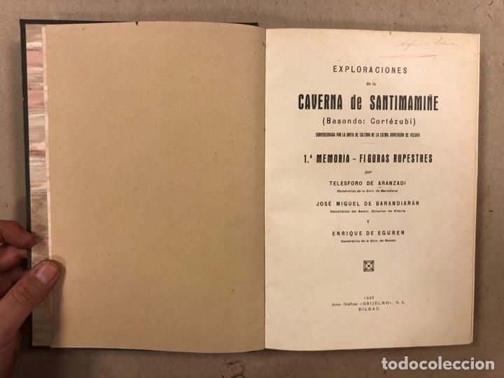 Libros antiguos: EXPLORACIÓN DE LA CAVERNA DE SANTIMAMIÑE. TELESFORO DE ARANZADI, J.M. BARANDIARAN Y ENRIQUE DE EGURE - Foto 4 - 285289668