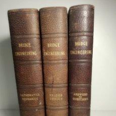 Libros antiguos: BRIDGE ENGINEERING. I.C.S. TEXTBOOKS. 3 VOL. MATHEMATICS. MECHANICS. BRIDGE DESIGNS. ANSWERS. 1896. Lote 285409123