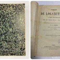 Libros antiguos: TABLES DE LOGARITHMES A SEPT DECIMALES. L. SCHRÖN. PARIS. GAUTHIER-VILLARS ET CIE. IMPRIMEURS. Lote 287972588