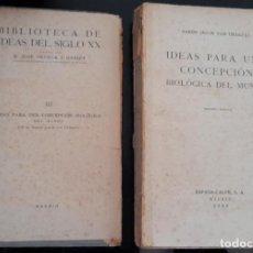Libros antiguos: IDEAS PARA UNA CONCEPCIÓN BIOLÓGICA DEL MUNDO, BARÓN J. VON UEXKÜLL, ESPASA CALPE, 1934. Lote 288005528