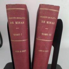 Libros antiguos: COLECCIÓN LEGISLATIVA DE MINAS JUNTA SUPERIOR FACULTATIVA DE MINERÍA 1889 Y 1892. Lote 288057318