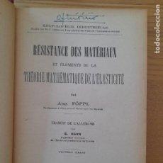 Libros antiguos: RÉSISTANCE DES MATÉRIAUX ET ÉLÉMENTS DE LA THÉORIE MATHÉMATIQUE DE L'ÉLASTICITÉ. 1930 RARE. Lote 288311198