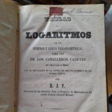 Libros antiguos: TABLAS DE LGARITMOS DE OS NUMEROS Y LINEAS TRIGONOMETRICAS PATRA USO DE LOS CABALLEROS CADETES, 1858. Lote 288862518