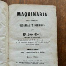 Libros antiguos: MAQUINARIA TEÓRICO-PRÁCTICA, CALCULAR Y DELINEAR. TOMO PRIMERO- D JOSE GOTTI 1854. Lote 295280428