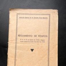 Libros antiguos: REGLAMENTO DE PÓSITOS. SERVICIOS SOCIAL-AGRARIOS. TALLERES GRAFICOS DE E. GIMENEZ. MADRID, 1932.. Lote 295732568