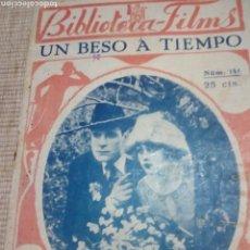 Libros antiguos: UN BESO A TIEMPO BIBLIOTECA FILMS. Lote 143142153