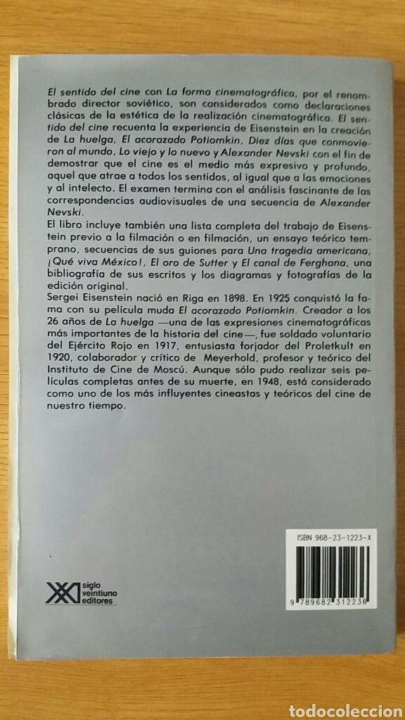 Libros antiguos: El sentido del cine. Sergei Eisenstein. Ed. Siglo XXI, 1999. - Foto 2 - 152539614
