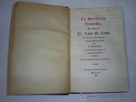 Libros antiguos: La Perfecta Casada conforme el texto de la edición de 1786 FRAY LUIS DE LEÓN 1906 RM48356-V - Foto 2 - 27411085