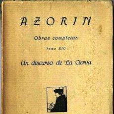 Libros antiguos: AZORIN : UN DISCURSO DE LA CIERVA (1921). Lote 27567404