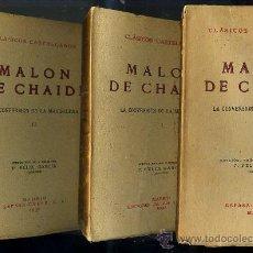 Libros antiguos: CLÁSICOS CASTELLANOS . MALON DE CHAIDE : LA CONVERSIÓN DE LA MAGDALENA (1930 Y 1947) TRES TOMOS. Lote 25714404