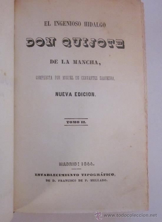 Libros antiguos: Libro antiguo. Cervantes. El ingenioso Hidalgo Don Quijote de la Mancha. 1844-1845. Quixote. Mellado - Foto 4 - 26616798
