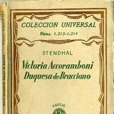 Libros antiguos: STENDHAL : VICTORIA ACCORAMBONI DUQUESA DE BRACCIANO (1933). Lote 26924395