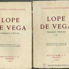 Libros antiguos: LOPE DE VEGA : POESÍAS LÍRICAS (1941) DOS TOMOS - CLÁSICOS CASTELLANOS. Lote 28385412
