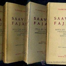 Libros antiguos: SAAVEDRA FAJARDO : IDEA DE UN PRÍNCIPE POLÍTICO CRISTIANO (1927/1930) 4 TOMOS - CLÁSICOS CASTELLANOS. Lote 28389092