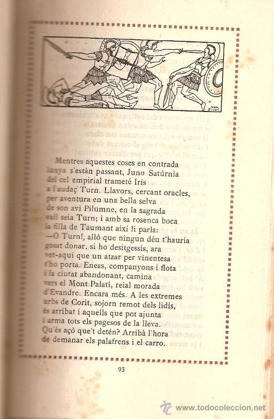 Libros antiguos: ENEIDA / VIRGILI / TRADUCCIÓ MOSSEN LLORENÇ RIBER/ VOLUM II / EDITORIAL CATALANA 1918 - Foto 5 - 28446317