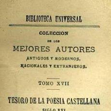 Libros antiguos: TESORO DE LA POESÍA CASTELLANA TOMO I - SIGLO XVI (192?). Lote 29333931