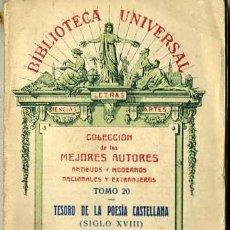 Libros antiguos: TESORO DE LA POESÍA CASTELLANA TOMO III - SIGLO XVIII (1927). Lote 29333968