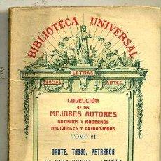 Libros antiguos: DANTE : LA VIDA NUEVA / TASSO : AMINTA / PETRARCA : CANCIONES (1919). Lote 29334091