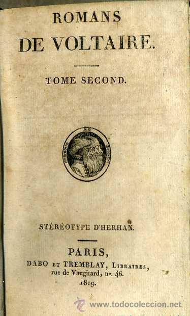 Libros antiguos: ROMANS DE VOLTAIRE TOME SECOND (DABO ET TREMBLAY, 1819) - Foto 3 - 29337055