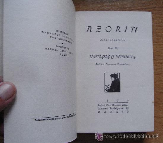 AZORIN - FANTASIAS Y DEVANEOS - CARO RAGGIO, 1920 (Libros antiguos (hasta 1936), raros y curiosos - Literatura - Narrativa - Clásicos)