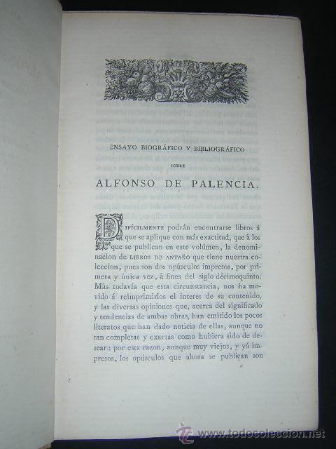 Libros antiguos: 1876 - ALONSO DE PALENCIA - DOS TRATADOS - LIBROS DE ANTAÑO, PAPEL DE HILO - Foto 4 - 29635788