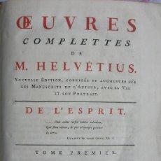 Libros antiguos: 1781,OBRAS DE M.HELVETIUS,LONDRES,LONDON,EXCELENTE GRABADO,PASTA ESPAÑOLA,,ORIGINAL. Lote 30215853