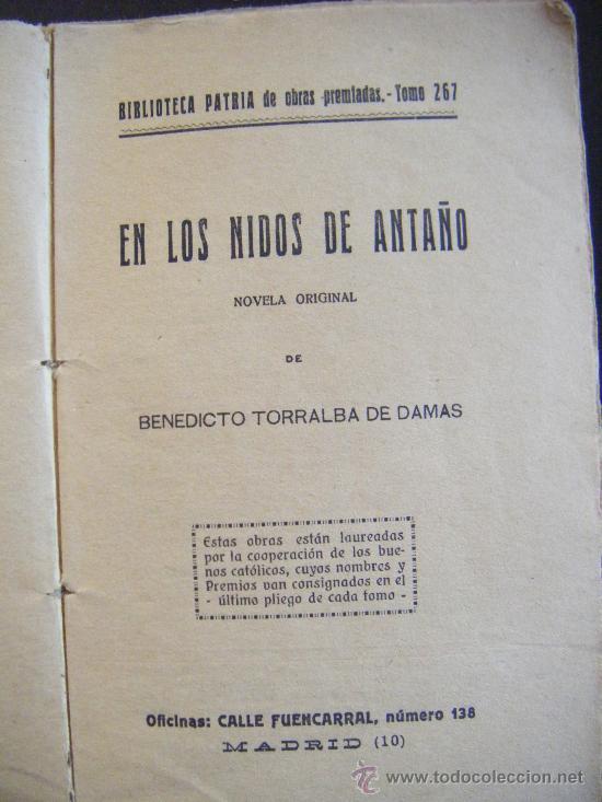 Libros antiguos: EN LOS NIDOS DE ANTAÑO. BENEDICTO TORRALBA DE DAMAS. BIBLIOTECA PATRIA DE OBRAS PREMIADAS. TOMO 267 - Foto 2 - 31408748