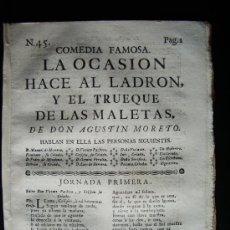 Libros antiguos: 1763-LA OCASIÓN HACE AL LADRÓN, Y EL TRUEQUE DE LAS MALETAS.COMEDIA DE AGUSTÍN MORETO.TEATRO SIGLO O. Lote 32344945