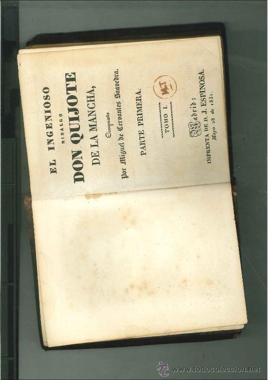 EL INGENIOSO HIDALGO DON QUIJOTE DE LA MANCHA. PARTE PRIMERA TOMO I. MADRID, 1831. (Libros antiguos (hasta 1936), raros y curiosos - Literatura - Narrativa - Clásicos)