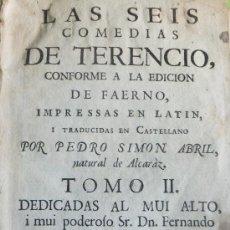 Libros antiguos: P.SIMÓN ABRIL NATURAL DE ALCARAZ ( ALBACETE).LAS SEIS COMEDIAS DE TERENCIO.VALENCIA B.MONFORT 1762. Lote 35508589
