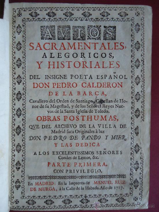 Autos Sacramentales Pedro Calderon De La Barc Verkauft Durch