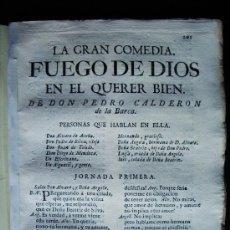 Libros antiguos: 1763-FUEGO DE DIOS EN EL QUERER BIEN.COMEDIA.PEDRO CALDERÓN DE LA BARCA.IMPRENTA INQUISICIÓN.M. Lote 36559986