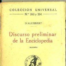 Libros antiguos: D'ALEMBERT : DISCURSO PRELIMINAR DE LA ENCICLOPEDIA (CALPE, 1920) . Lote 36926615