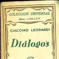 Libros antiguos: LEOPARDI : DIÁLOGOS (ESPASA CALPE, 1931). Lote 36948587