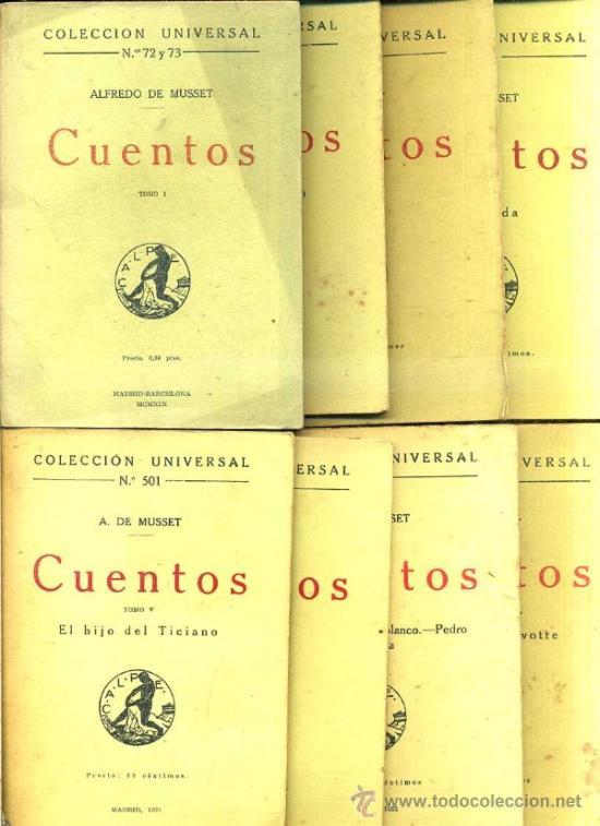 A. DE MUSSET : CUENTOS - OCHO TOMOS (CALPE, 1919/22) (Libros antiguos (hasta 1936), raros y curiosos - Literatura - Narrativa - Clásicos)