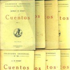 Libros antiguos: A. DE MUSSET : CUENTOS - OCHO TOMOS (CALPE, 1919/22). Lote 36952494