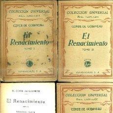 Libros antiguos: C. DE GOBINEAU : EL RENACIMIENTO - CUATRO TOMOS (ESPASA CALPE, 1928). Lote 36954988