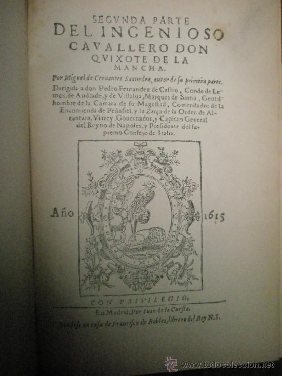 Libros antiguos: Segunda parte de El Ingenioso Hidalgo Don Quijote de la Mancha. Edición facsímil de la impresa en Ma - Foto 2 - 37626985