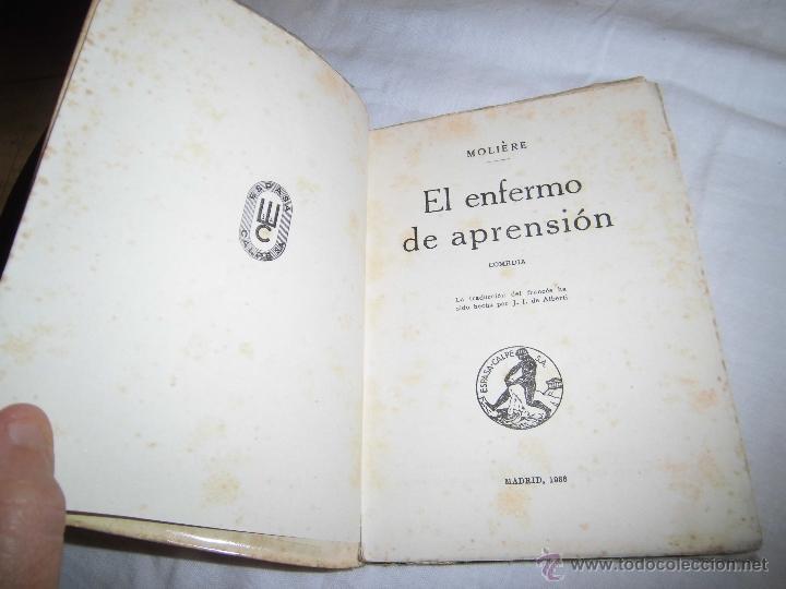 Libros antiguos: EL ENFERMO DE APRENSION MOLIERE COLECCION UNIVERSAL Nº 607-608 ESPASA CALPE 1936 - Foto 2 - 39374750