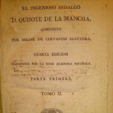 Libros antiguos: 1819 DON QUIJOTE DE LA MANCHA. REAL ACADEMIA ESPAÑOLA. IMPRENTA REAL . GRABADOS DE RIVELLES. TOMO II. Lote 40096503